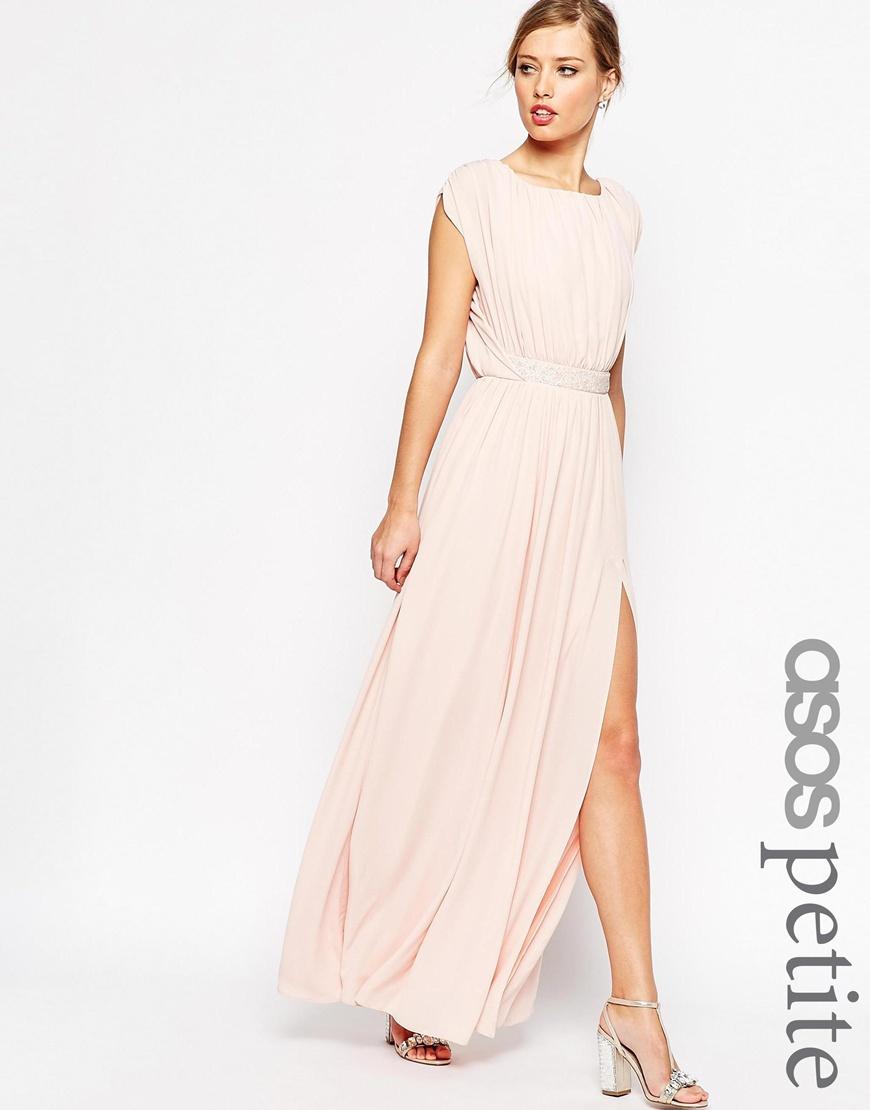 asos petite embellished waist maxi dress in beige nude lyst. Black Bedroom Furniture Sets. Home Design Ideas