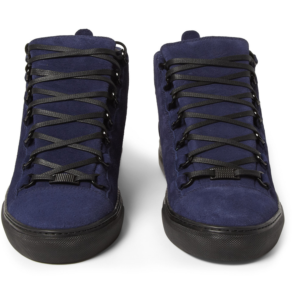 Lyst - Balenciaga Arena Suede High Top Sneakers in Blue for Men
