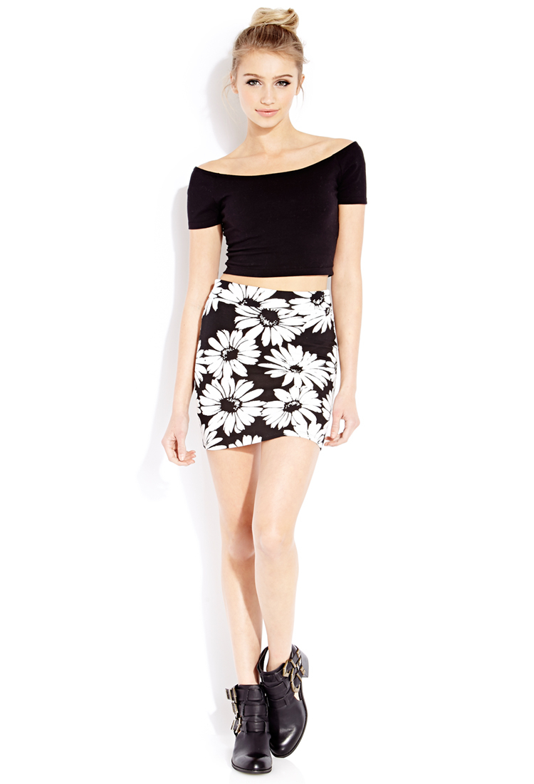 Forever 21 Flower Child Mini Skirt in White | Lyst