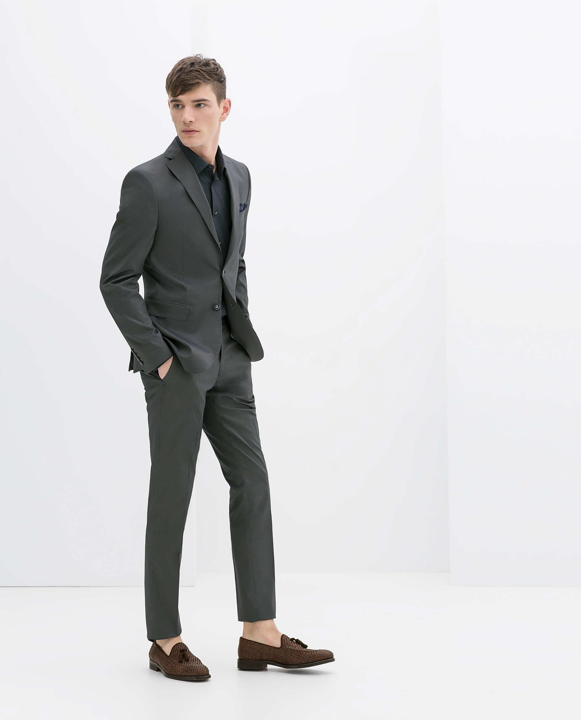 Zara Discontinuous Striped Suit Blazer in Gray for Men | Lyst