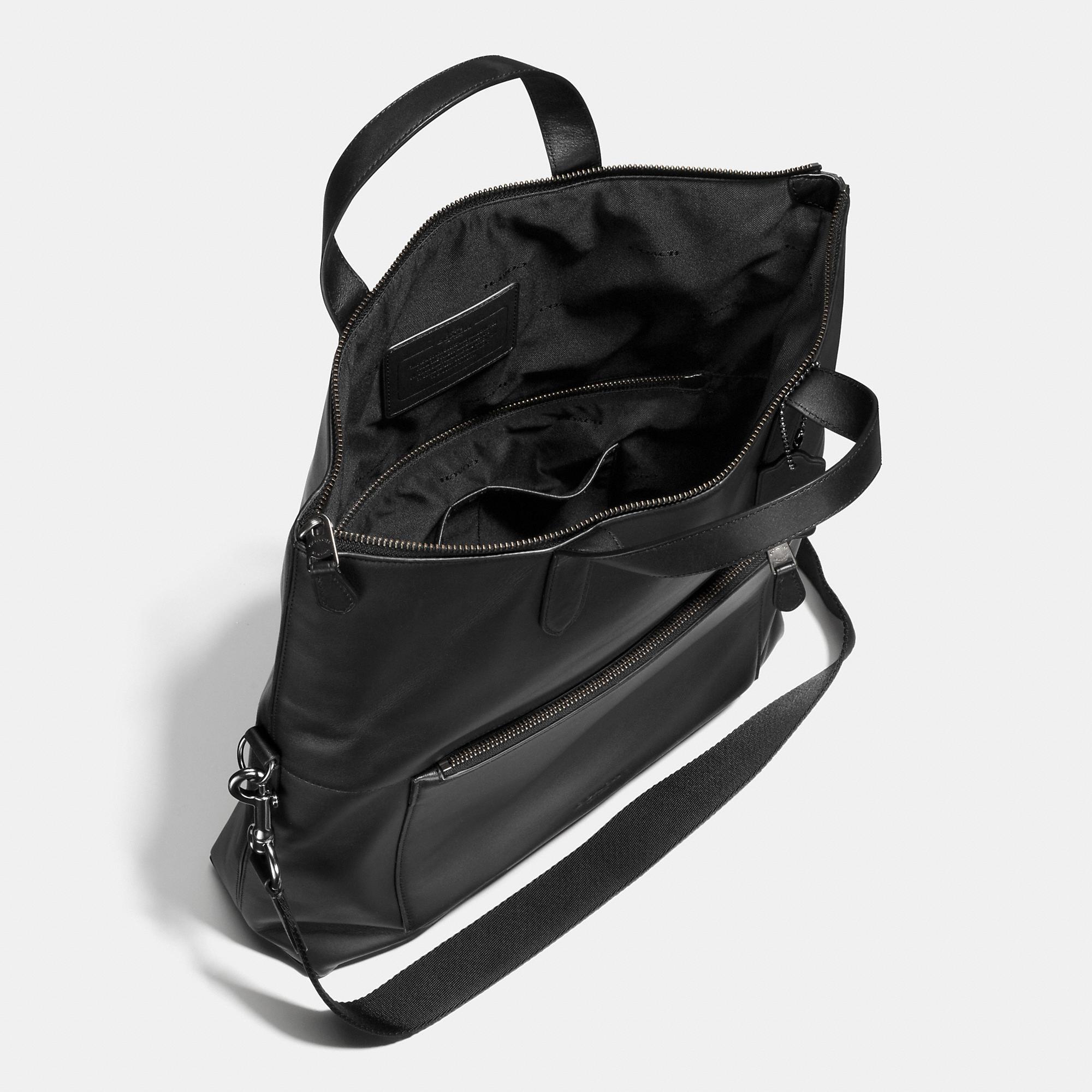 003dca6e5e COACH Manhattan Foldover Tote In Leather in Black for Men - Lyst