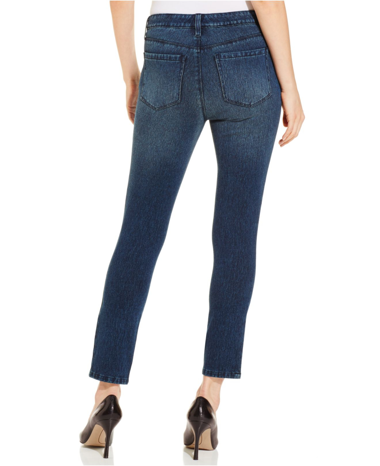 Lyst Style Amp Co Petite Skinny Denim Capri Pants In Blue