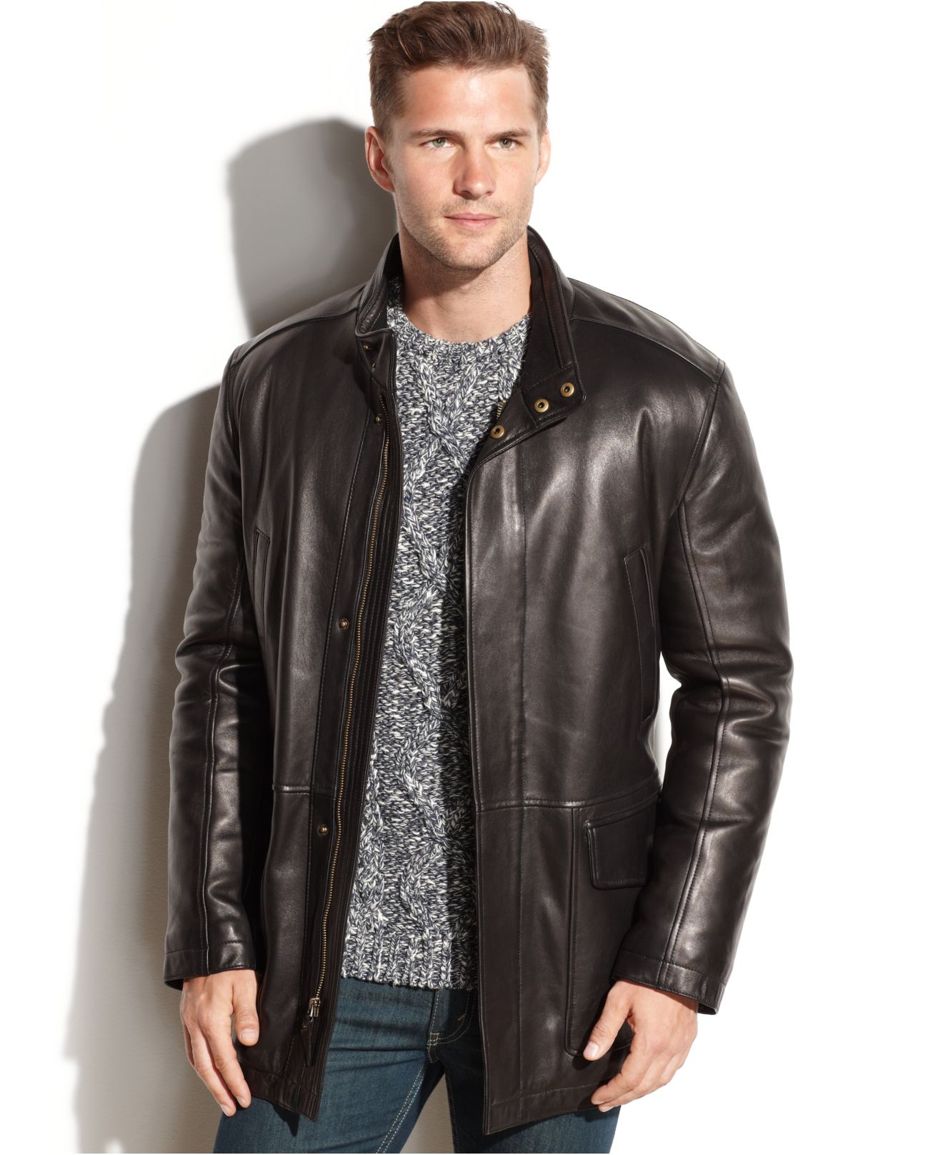 Cole haan Smooth Leather Car Coat in Black for Men | Lyst