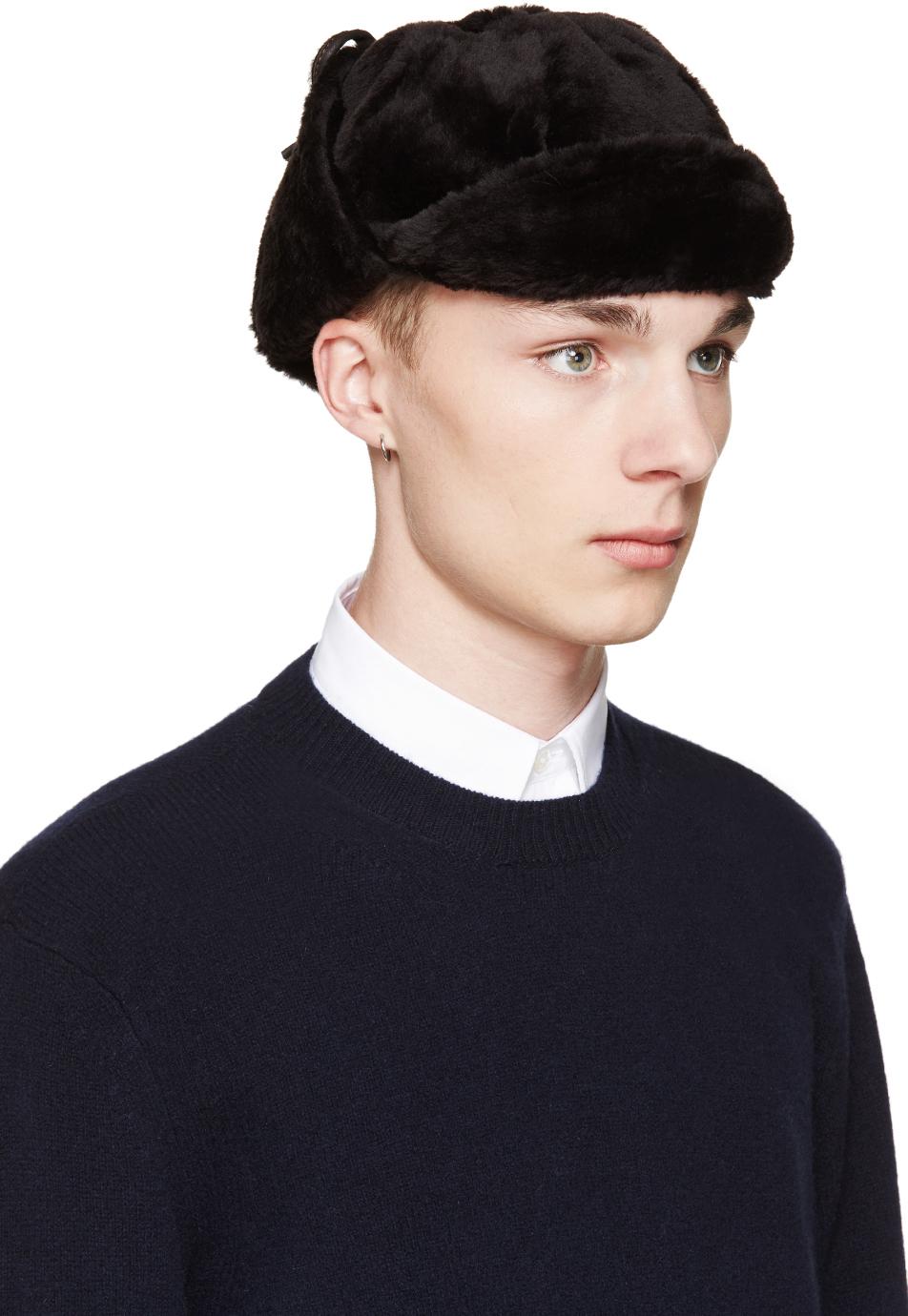 7f6e5dafc92 Paul Smith Black Sheepskin Trapper Hat in Black for Men - Lyst