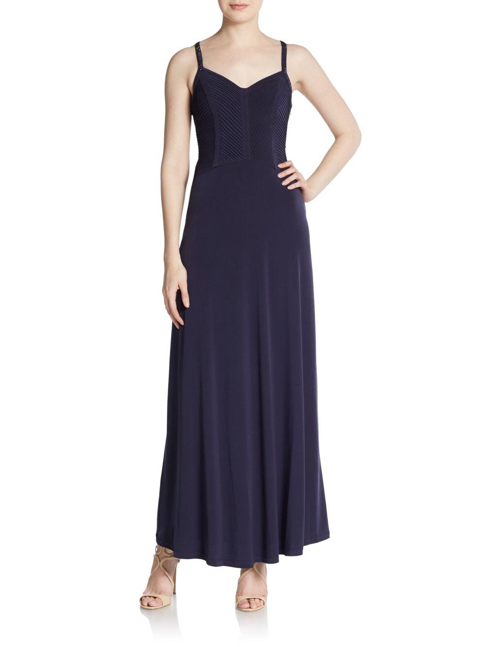 calvin klein beaded crisscross back dress in blue lyst
