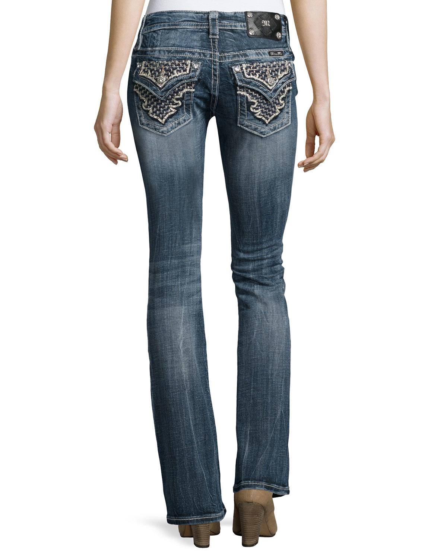 miss me boot cut embellished flap pocket jeans in blue lyst. Black Bedroom Furniture Sets. Home Design Ideas