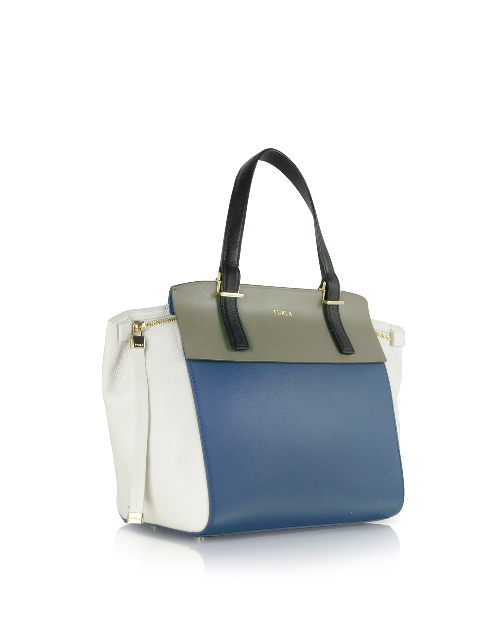 Lyst - Furla Dolce Vita Multicolor Small Leather Tote in Blue 2008a394dd0c1