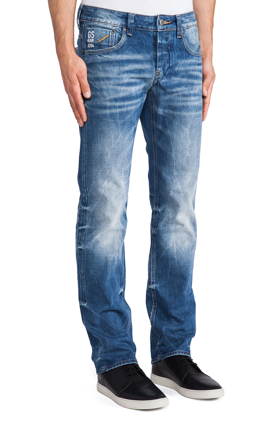 g star raw attacc low straight sheldy denim in blue for. Black Bedroom Furniture Sets. Home Design Ideas