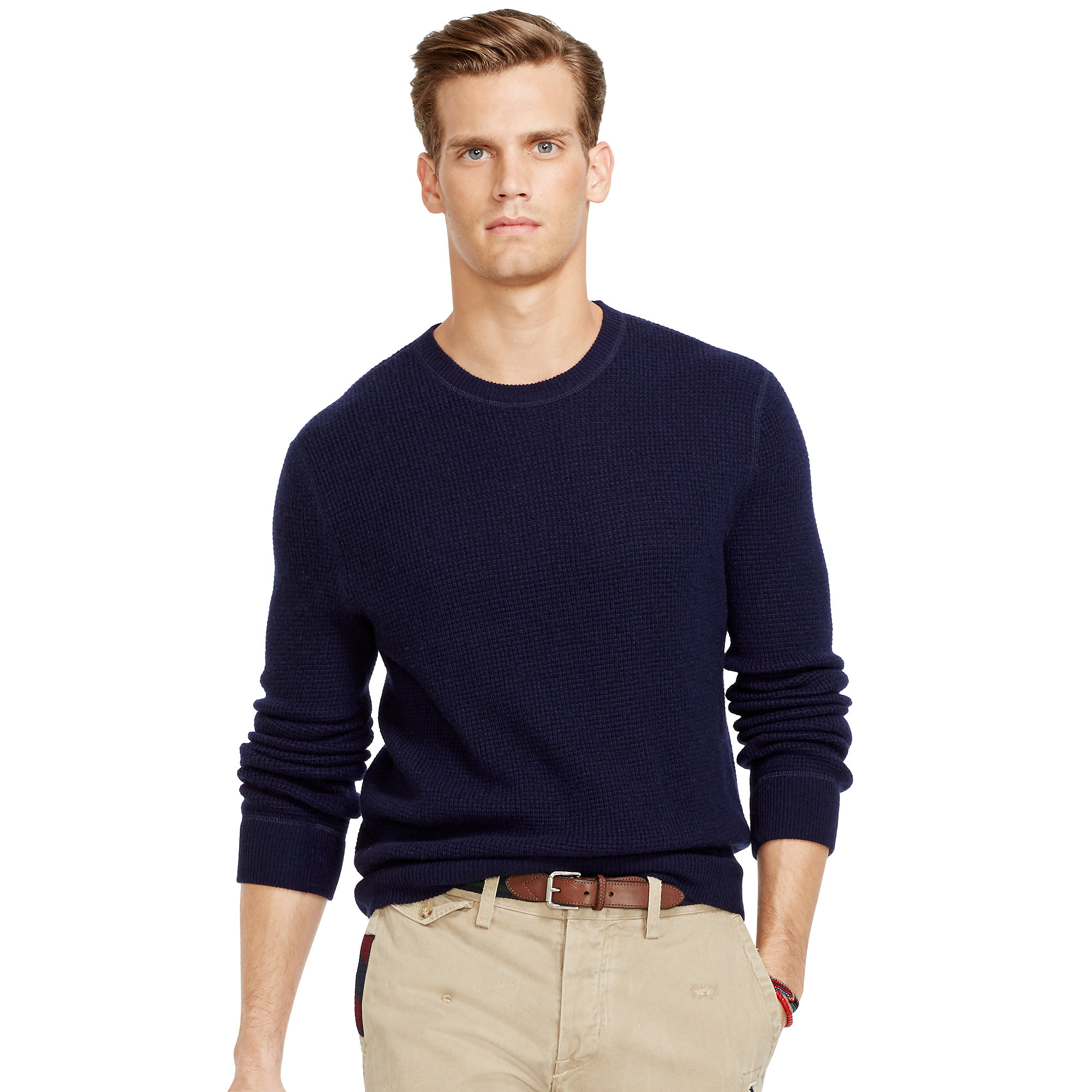 Ralph lauren Waffle-Knit Cashmere Sweater in Blue for Men | Lyst