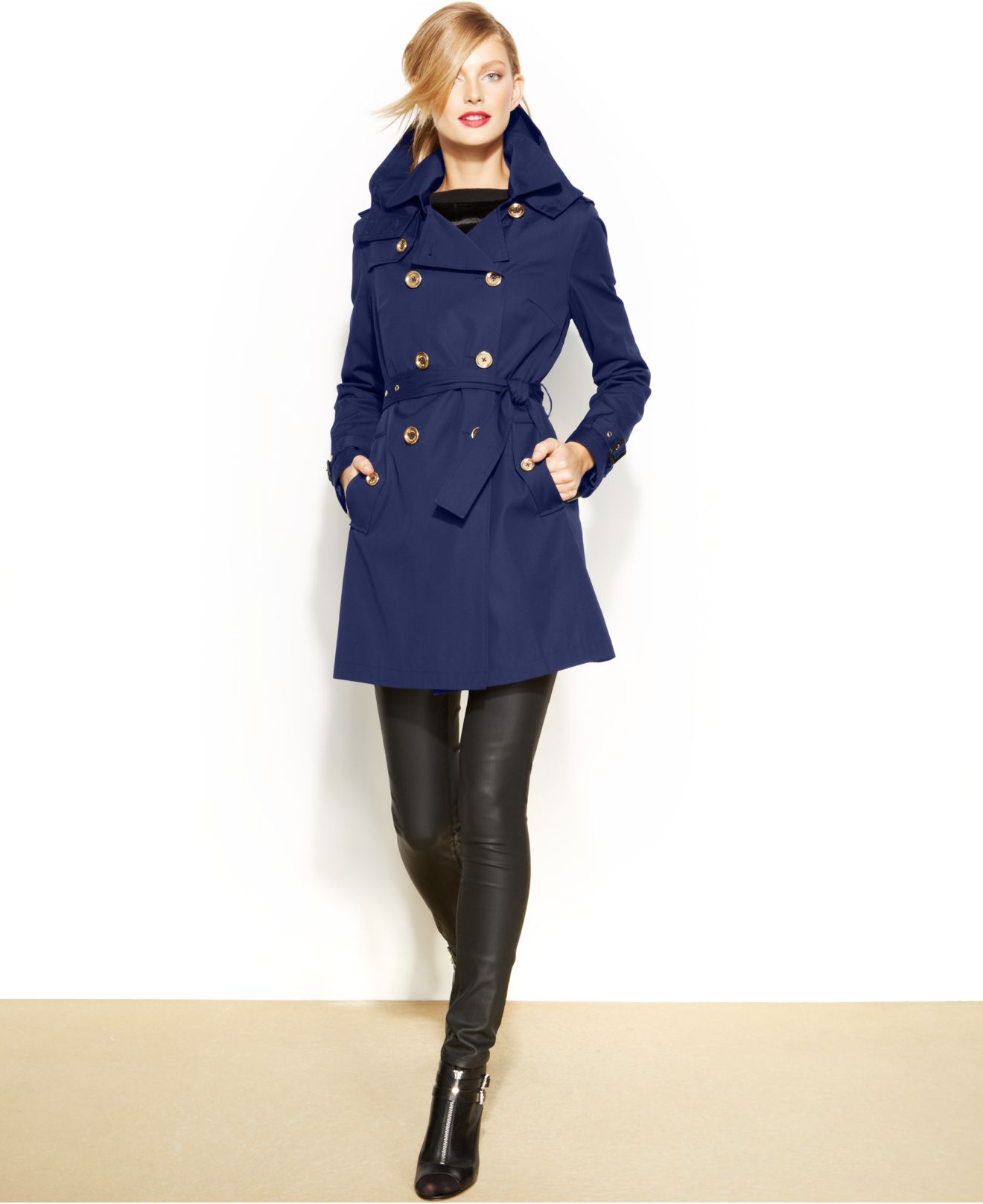 Michael kors Michael Petite Double-Breasted Trench Coat in Blue | Lyst