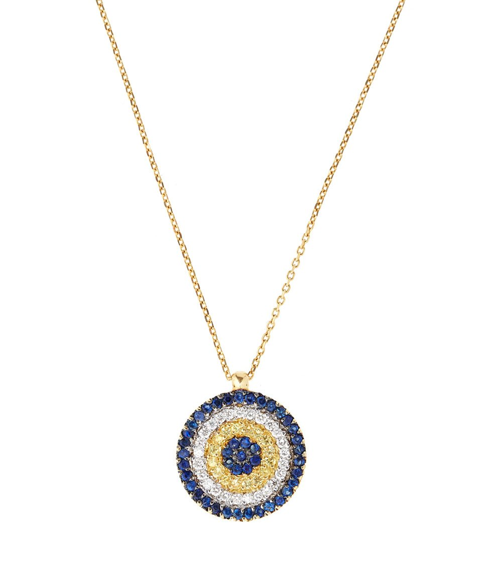 Lyst kojis gold sapphire evil eye pendant necklace in metallic gallery aloadofball Images