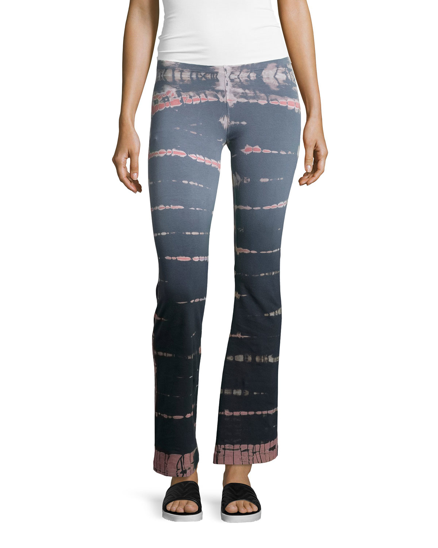 Hard Tail Tie-dye Boot-cut Yoga Pants In Blue