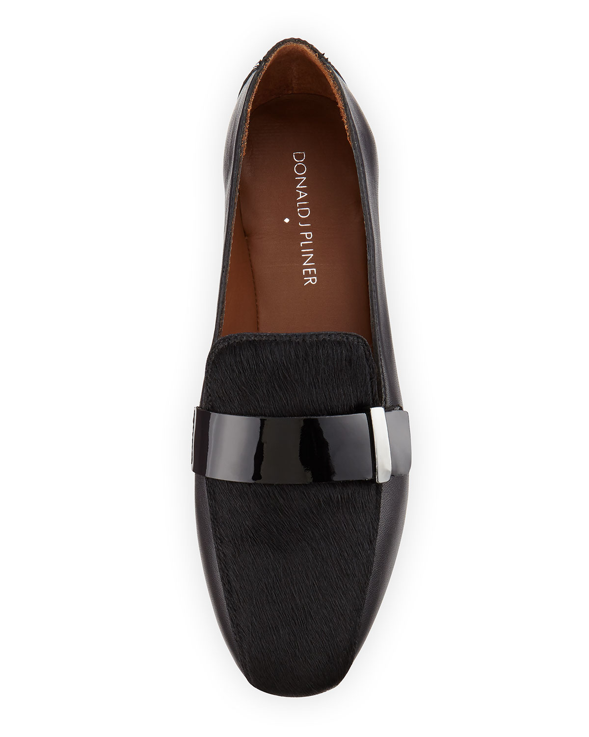 2b83fcc3bb5 Lyst - Donald J Pliner Elli Leather and Calf-Hair Loafers in Black