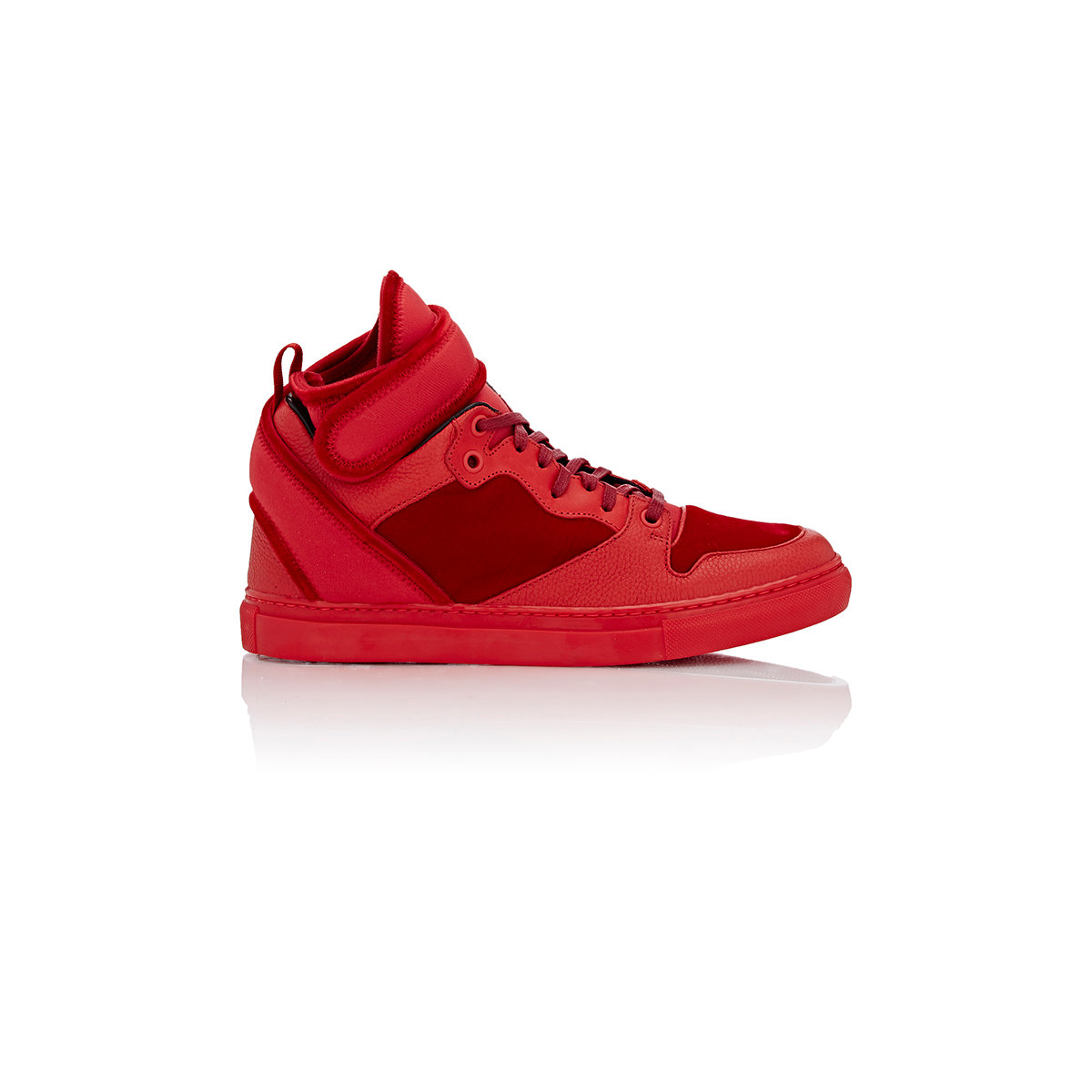 balenciaga leather amp velvet anklestrap sneakers in red lyst