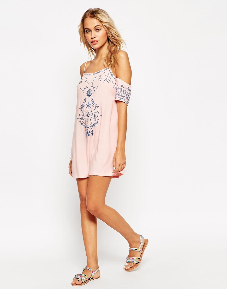 Lyst asos mono folk embroidered cold shoulder beach