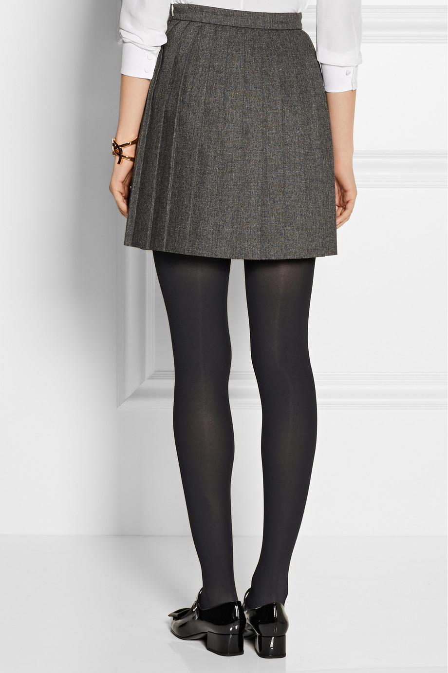 Saint laurent Pleated Wool Mini Skirt in Gray | Lyst