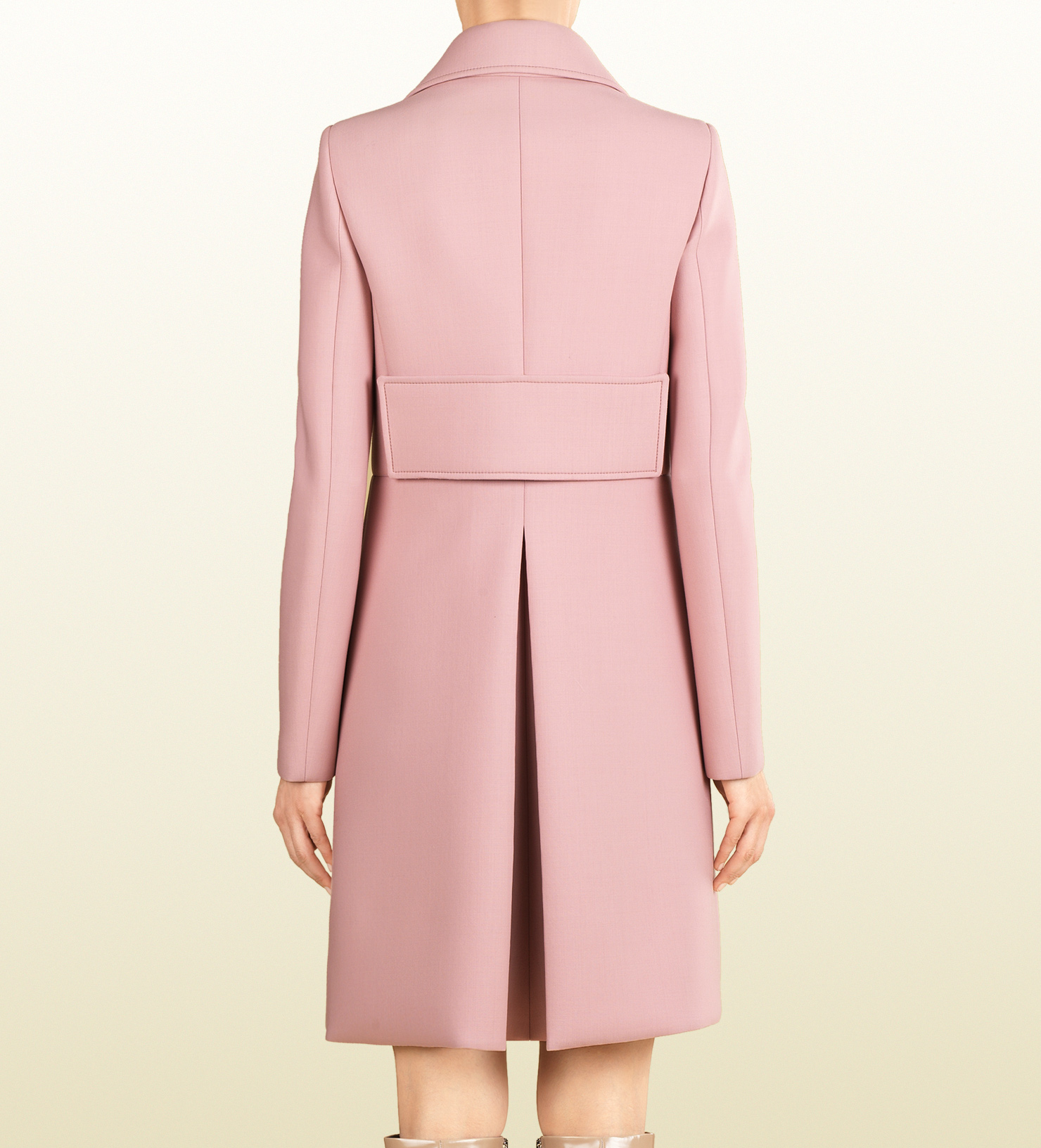 Gucci Wool Doublebreasted Coat in Pink | Lyst