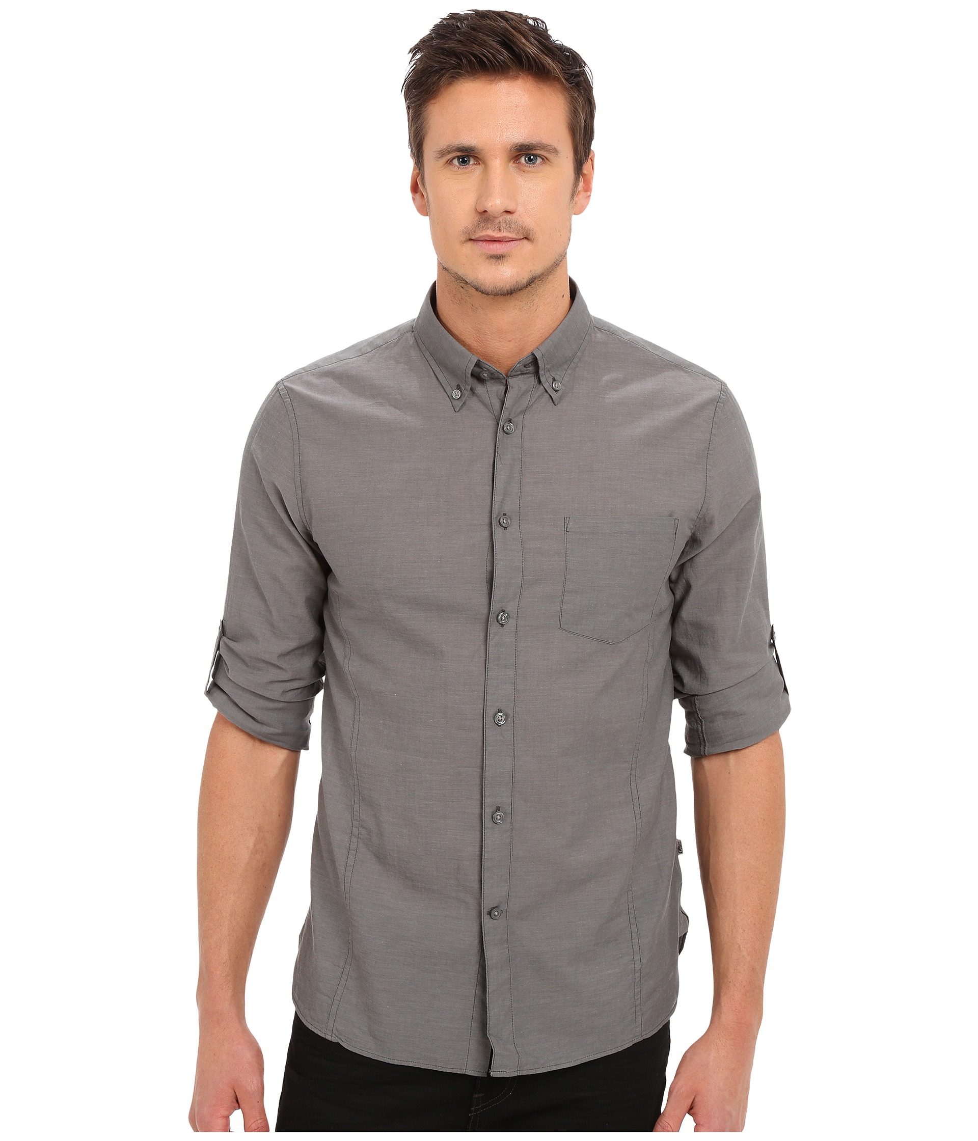 John varvatos roll up sleeve shirt w button down collar for How to roll up sleeves on women s dress shirt