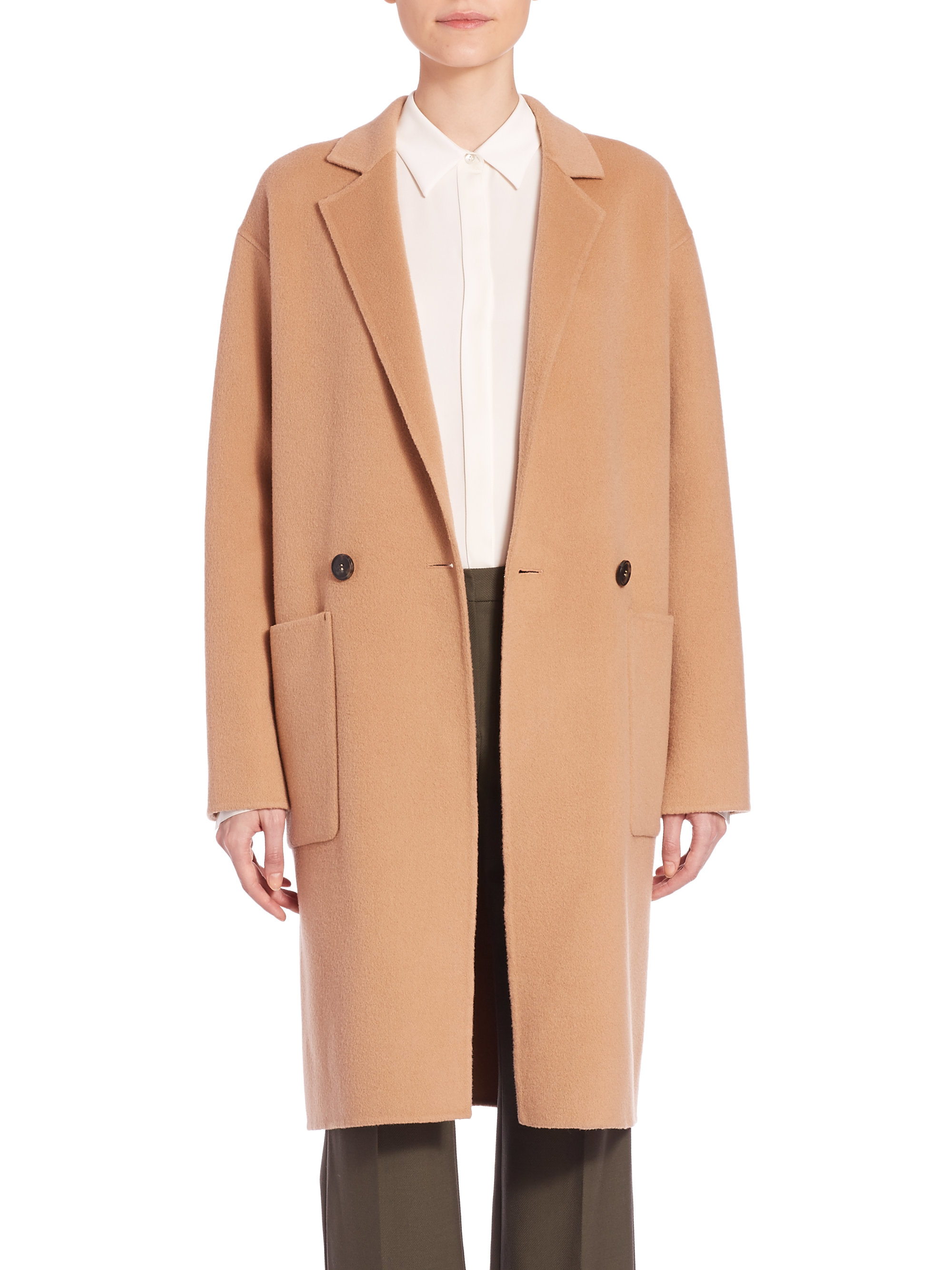 Theory Eletkah Wool & Cashmere Coat in Natural | Lyst