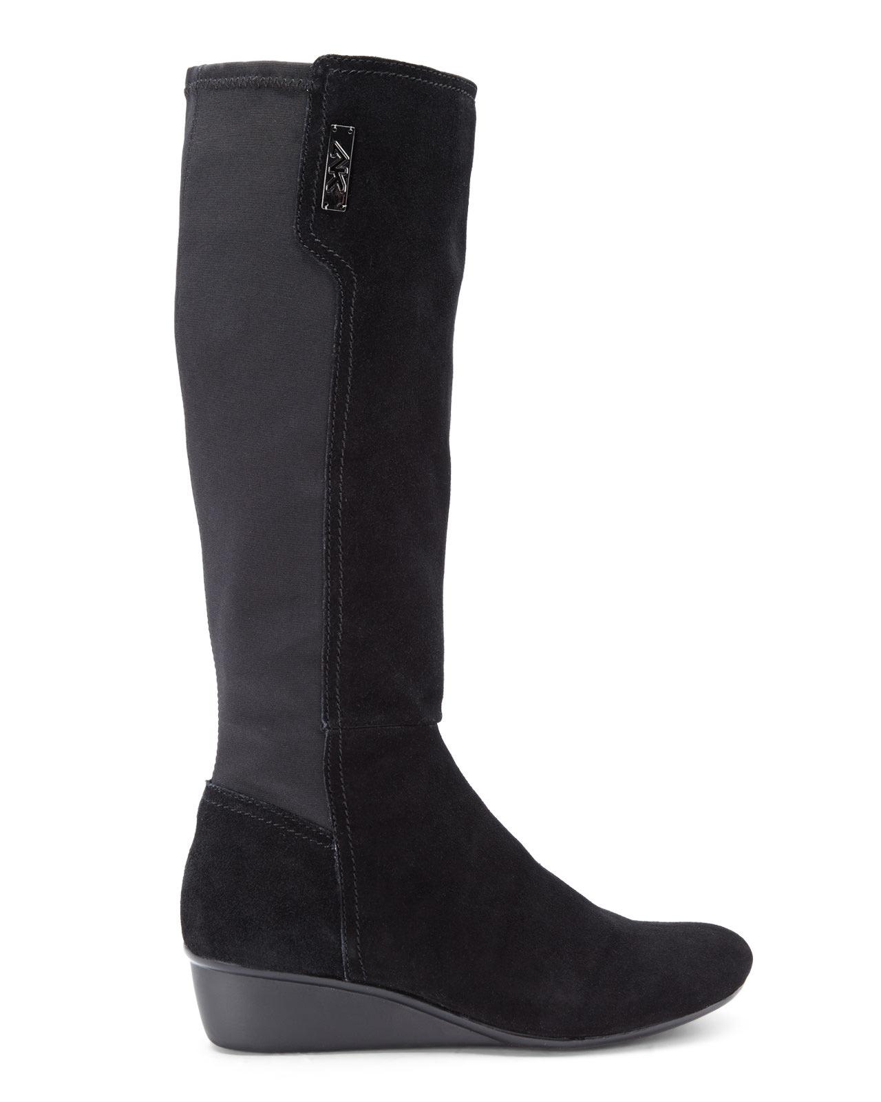 Lyst Ak Anne Klein Sport Black Suede Durwyn Wedge Boots