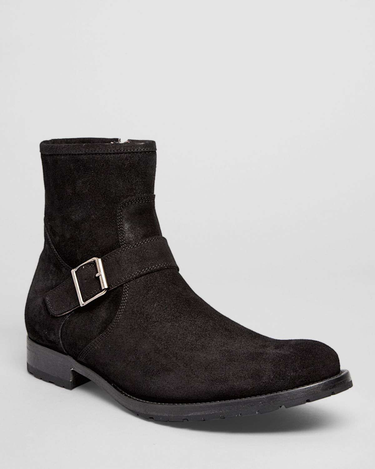 to boot jax suede buckle boots in black for lyst