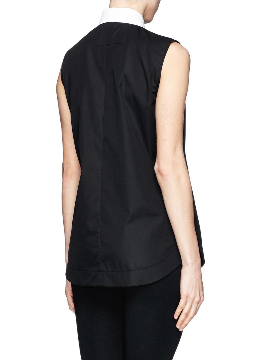 Lyst Givenchy Pearl Pin Collar Sleeveless Poplin Shirt