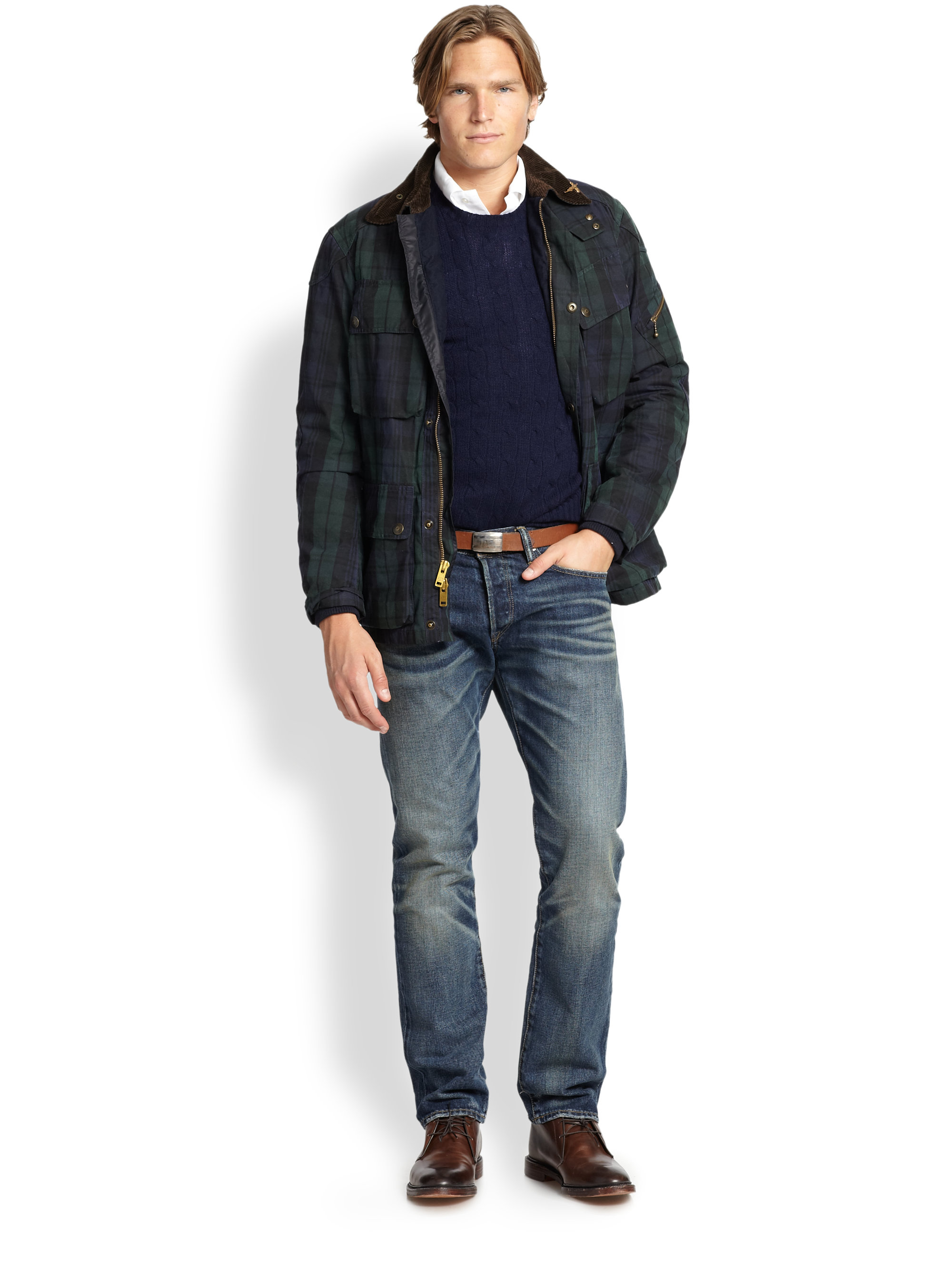 gallery polo mens ralph product quilt lyst jacket quilted black clothing for in men lauren bomber cadwell