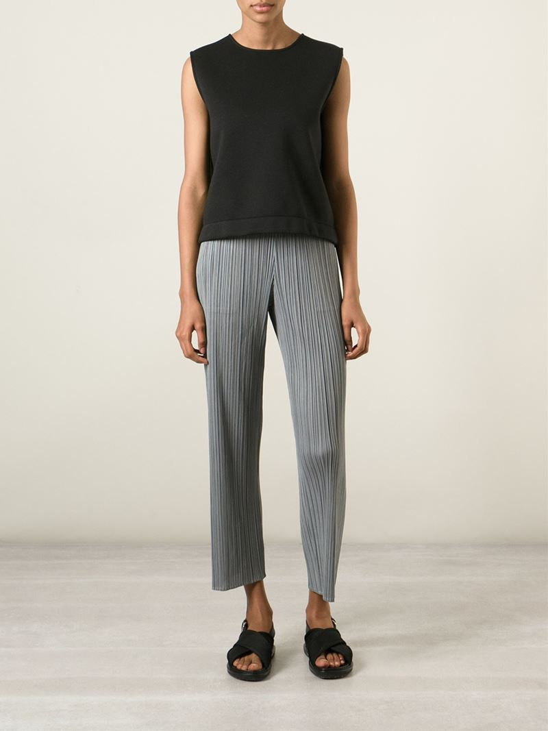 1b9e4620e8a54 Lyst - Pleats Please Issey Miyake Cropped Pleated Trousers in Gray