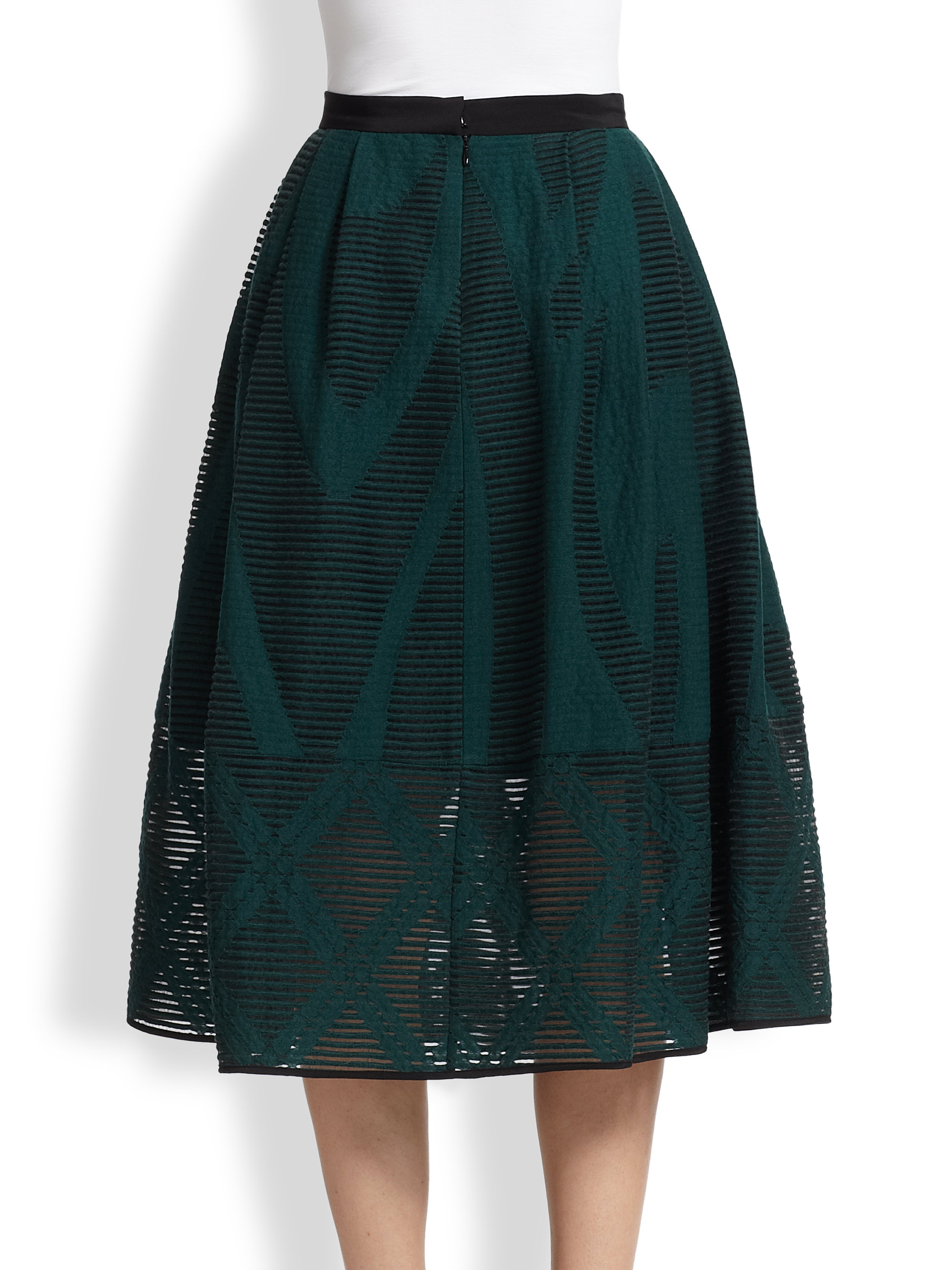 Tibi Abstract-Patterned Sheer Burnout Midi Skirt in Green | Lyst