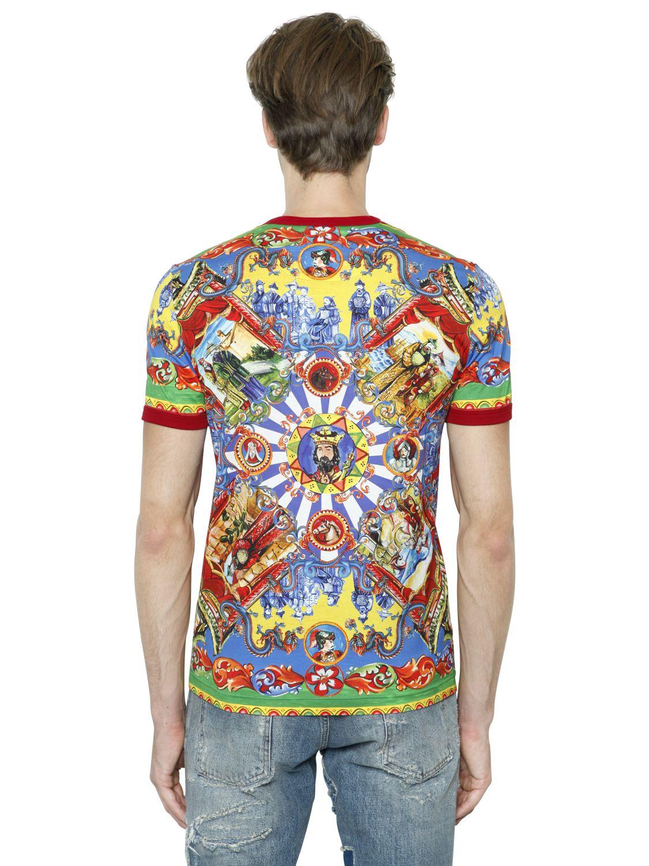 Dolce gabbana printed cotton jersey t shirt for men lyst for Dolce and gabbana printed t shirts