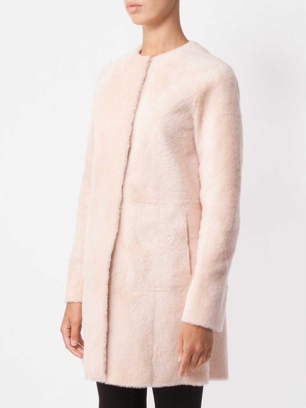 Drome Reversible Shearling Coat in Pink | Lyst