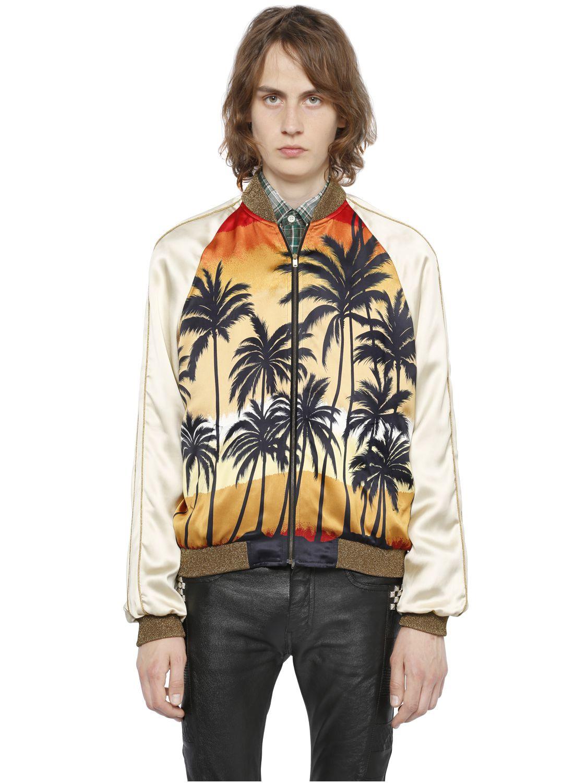 Saint Laurent Sunset Print Viscose Teddy Jacket For Men Lyst
