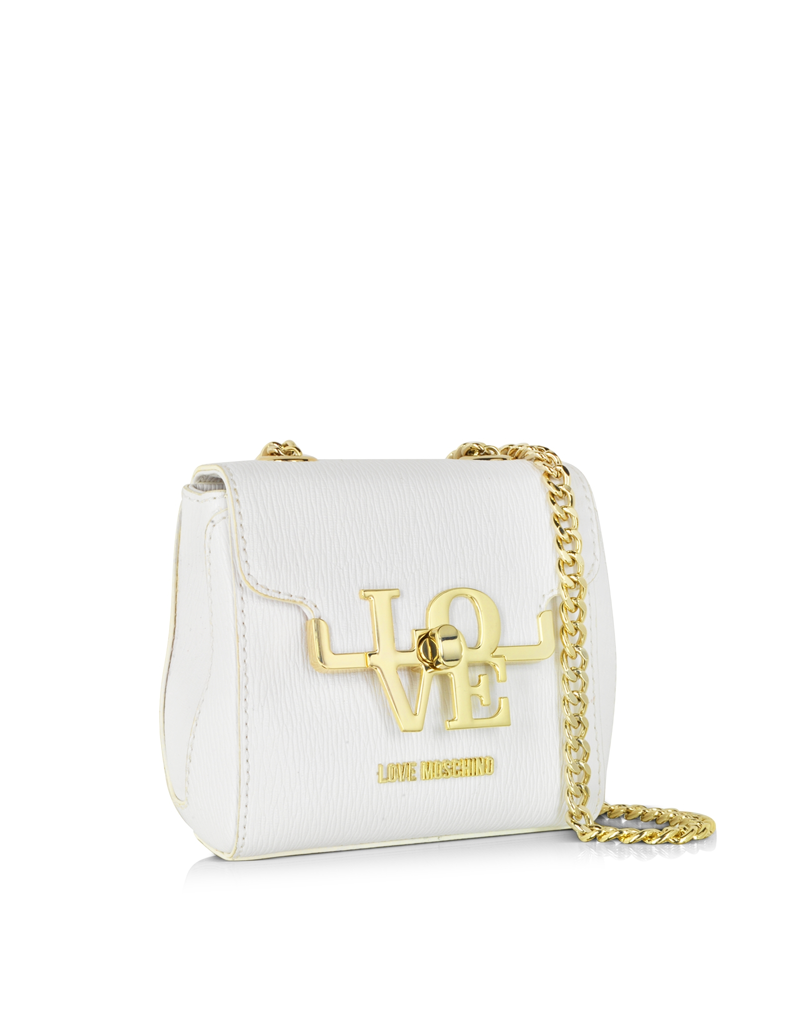 lyst love moschino white eco leather crossbody bag in white. Black Bedroom Furniture Sets. Home Design Ideas
