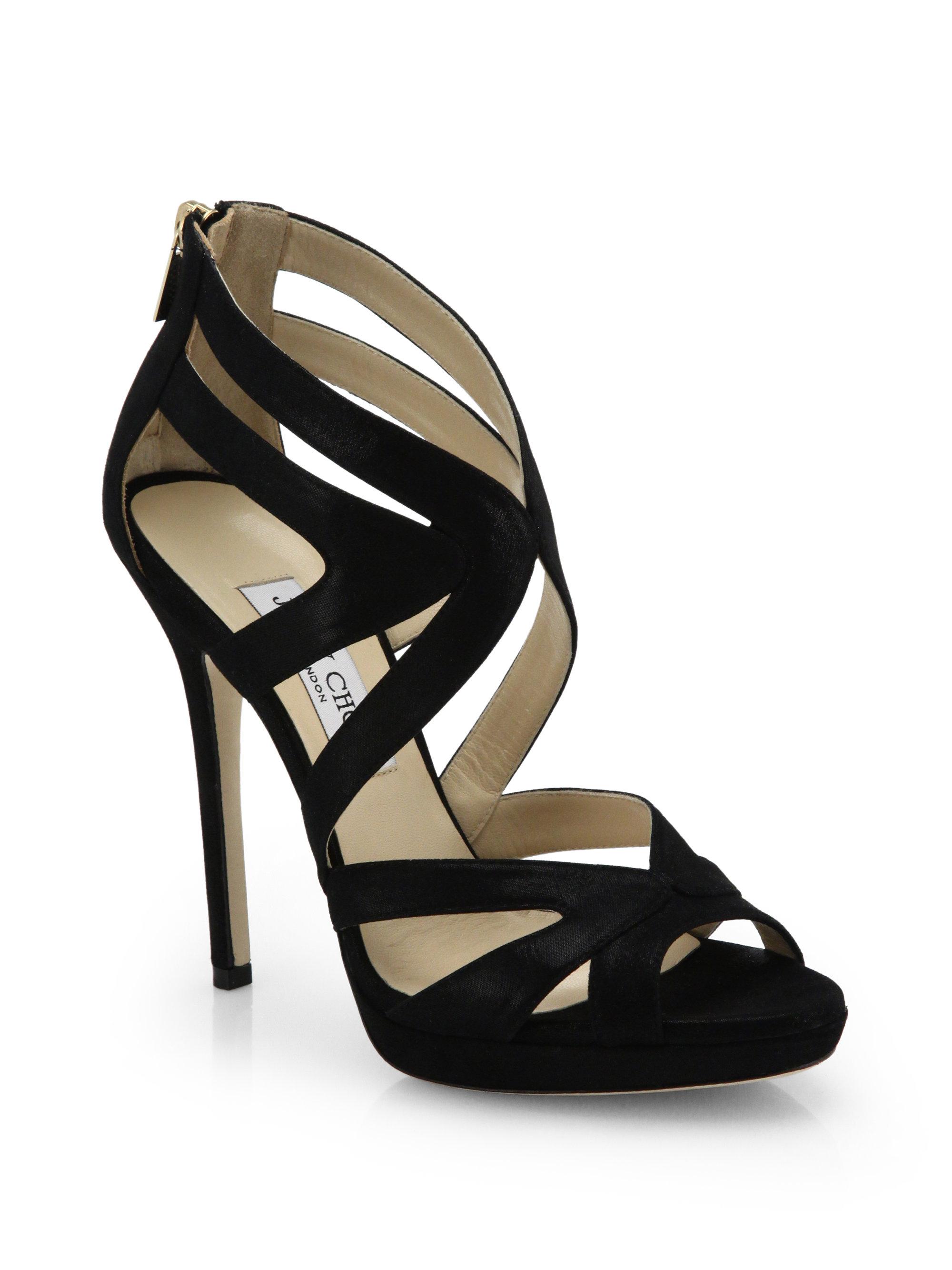 745e39afeef ... order lyst jimmy choo collar shimmer suede platform sandals in black  e372d 78d5a