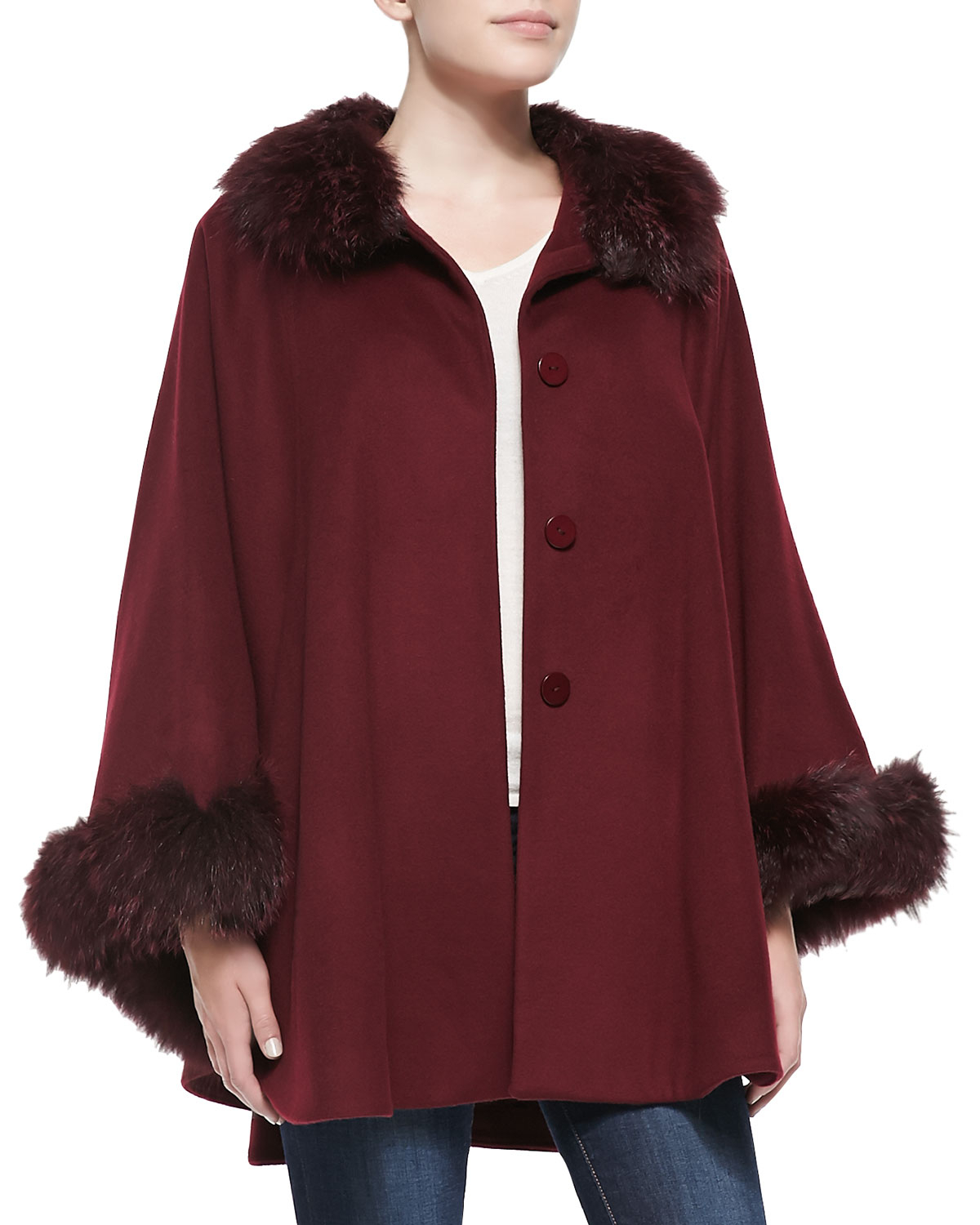 Sofia cashmere Fur-trimmed Button-front Cape Coat in Brown | Lyst