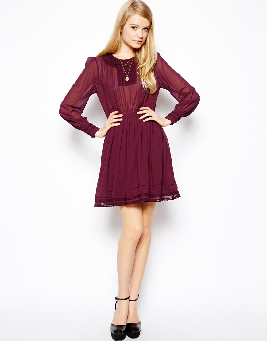 Asos Skater Dress With Pretty Lace Detail In Purple Lyst