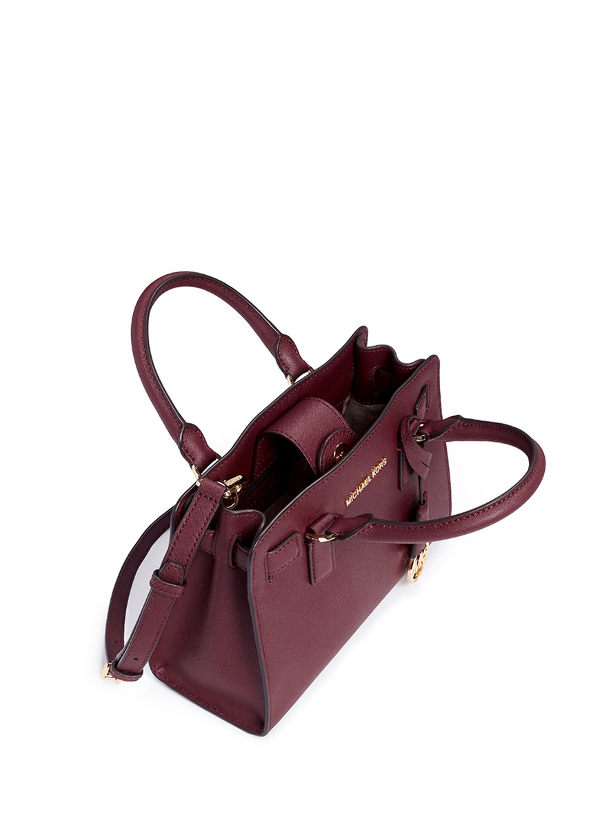 49b3880f970a ... store lyst michael kors small saffiano leather satchel in purple e06e0  c0c9f