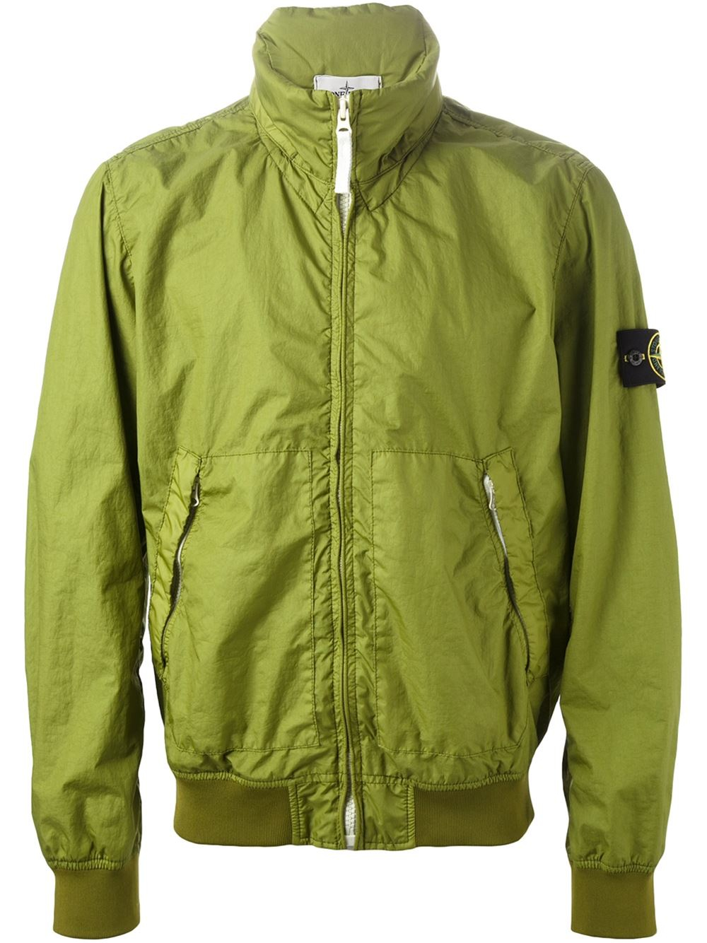 Lyst Stone Island Logo Patch Bomber Jacket In Green For Men