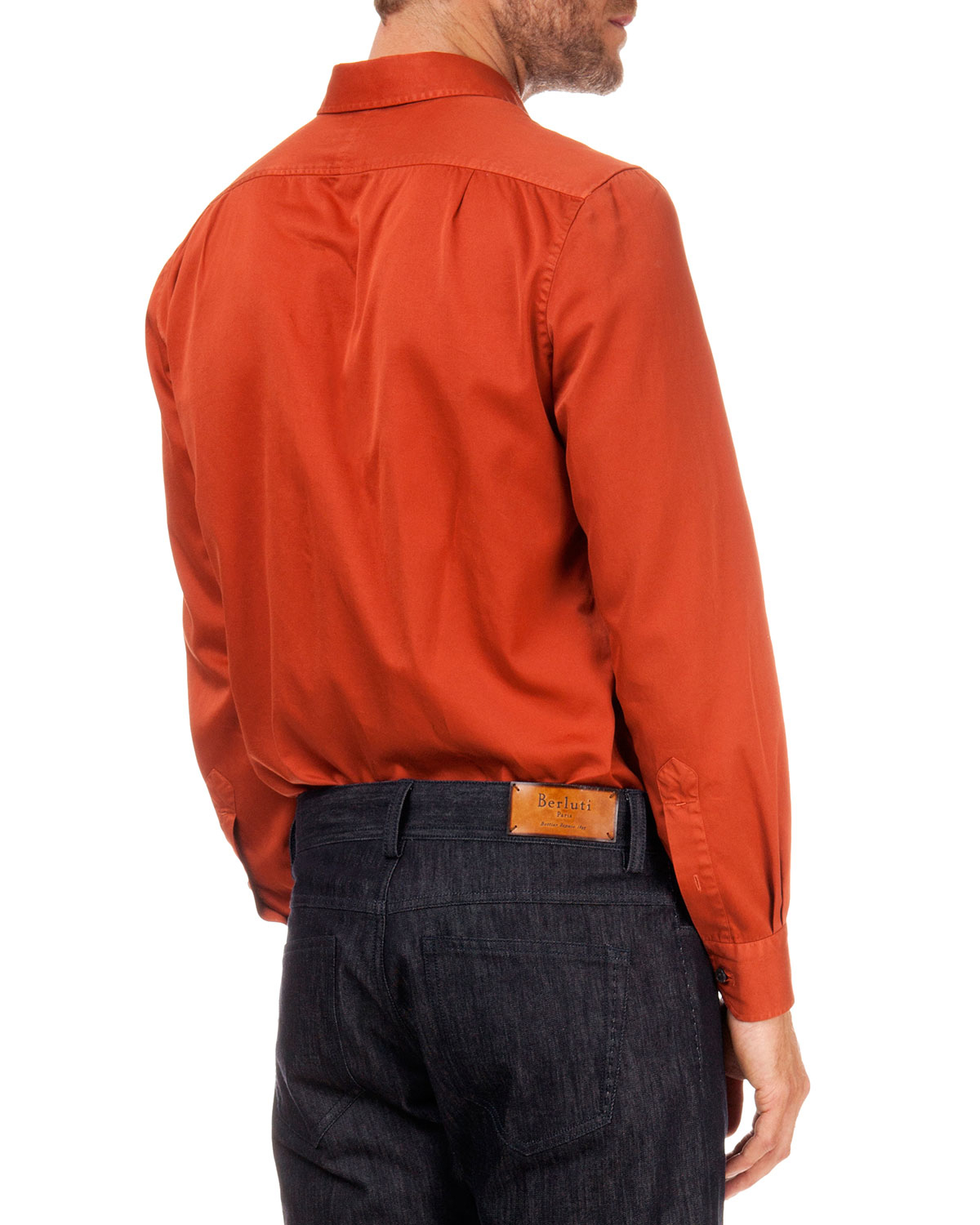 Berluti Solid Woven Button-down Shirt in Orange for Men | Lyst