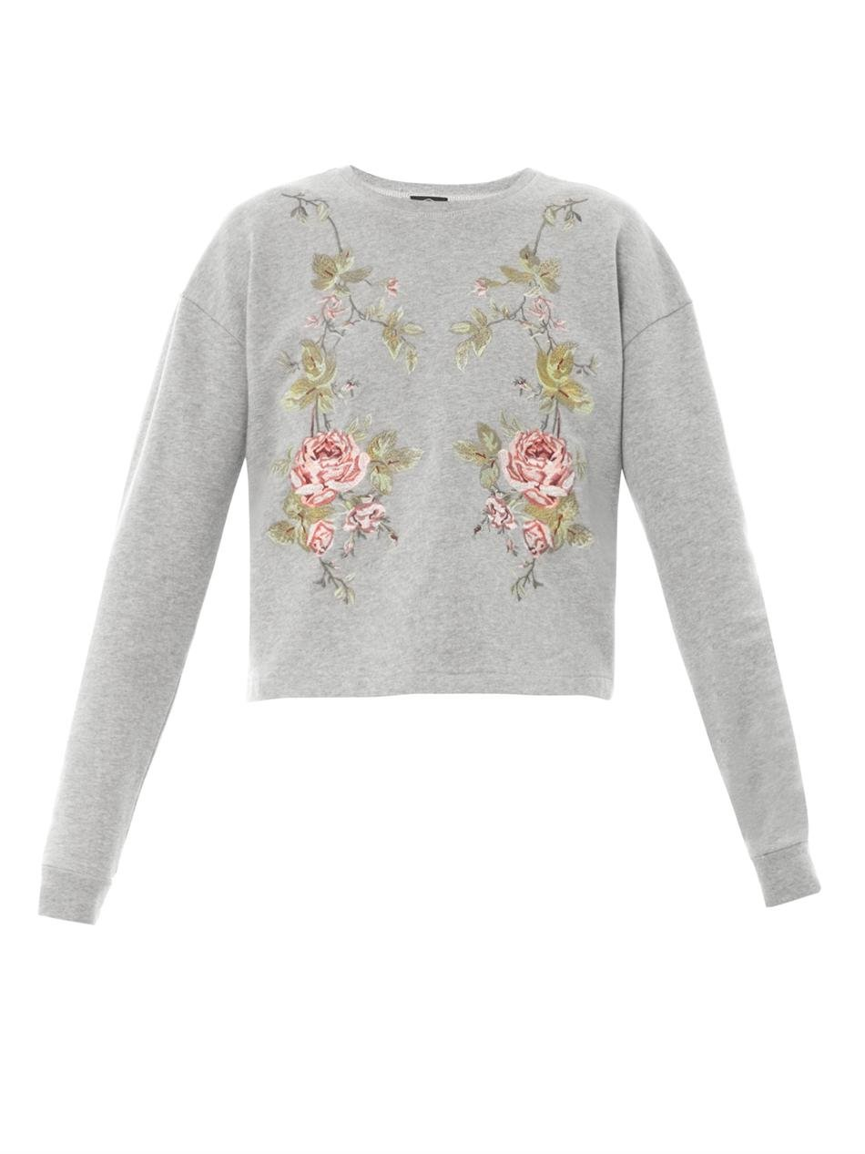 Lyst Mcq Embroidered Sweater In Gray