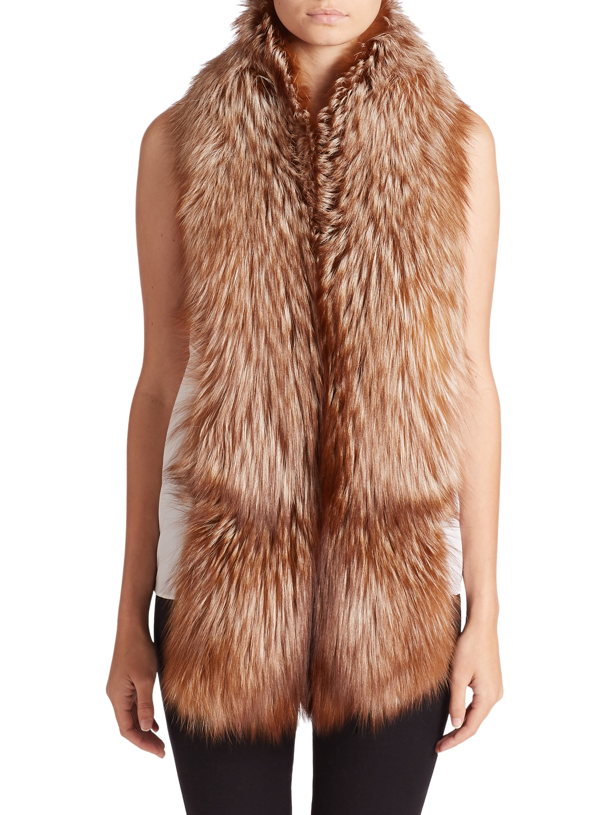 adrienne landau fox fur scarf in lyst