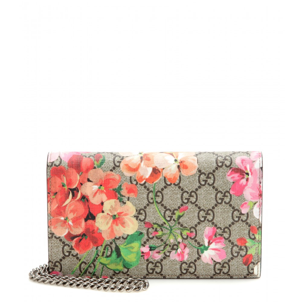 4b4bf390f8d Lyst - Gucci Gg Blooms Coated Canvas And Leather Clutch in Gray
