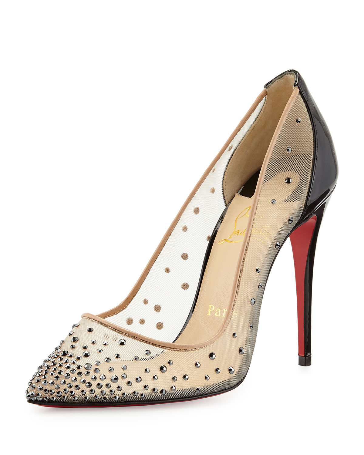 65921e7e8f Christian Louboutin Follies Crystal Mesh Red Sole Pump in Natural - Lyst