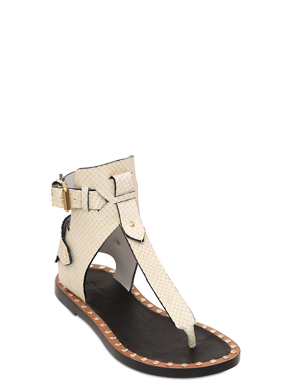 Isabel Marant Jayson Leather Gladiator Sandals In White Lyst