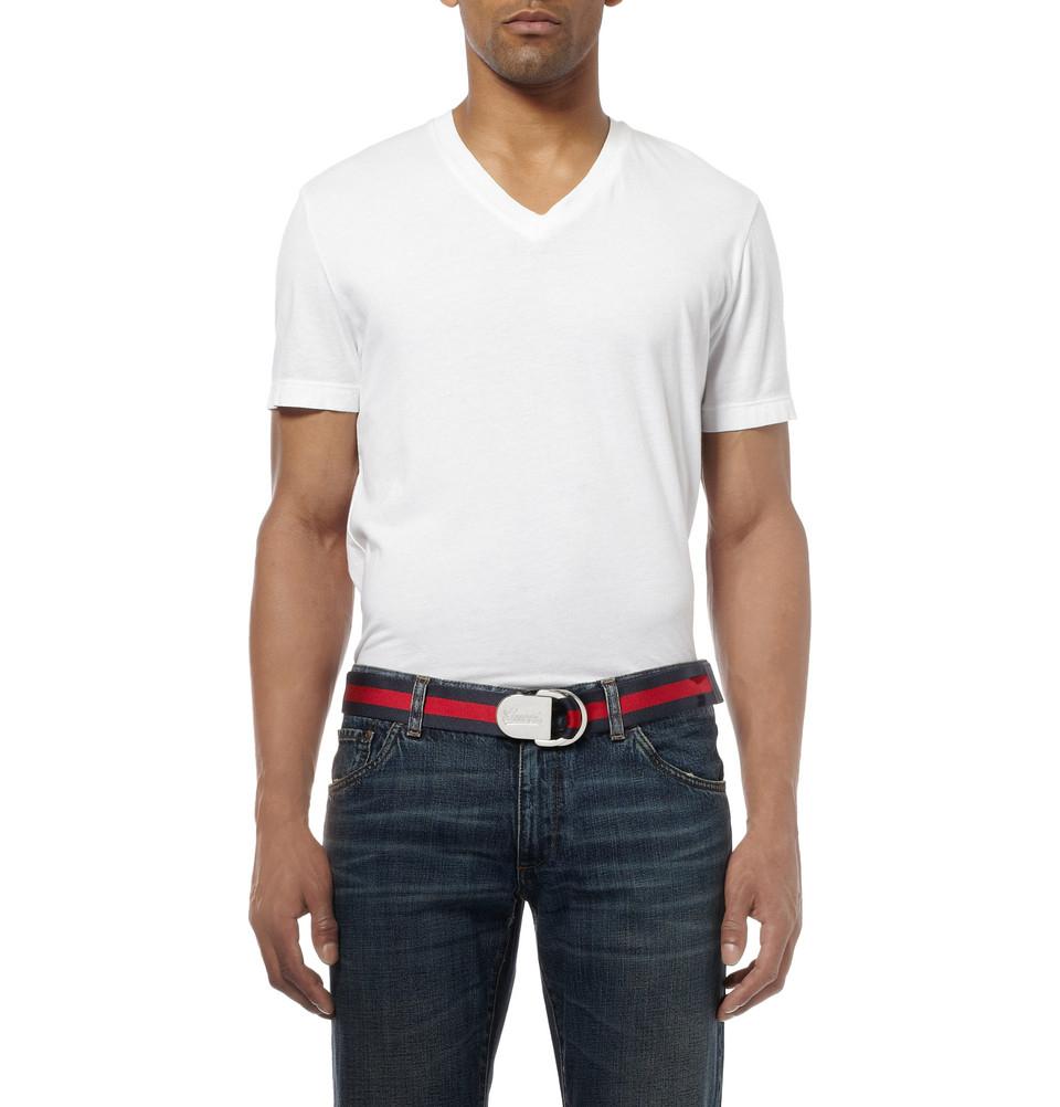 68976dabacf Gucci 4Cm Striped Canvas Belt in Blue for Men - Lyst