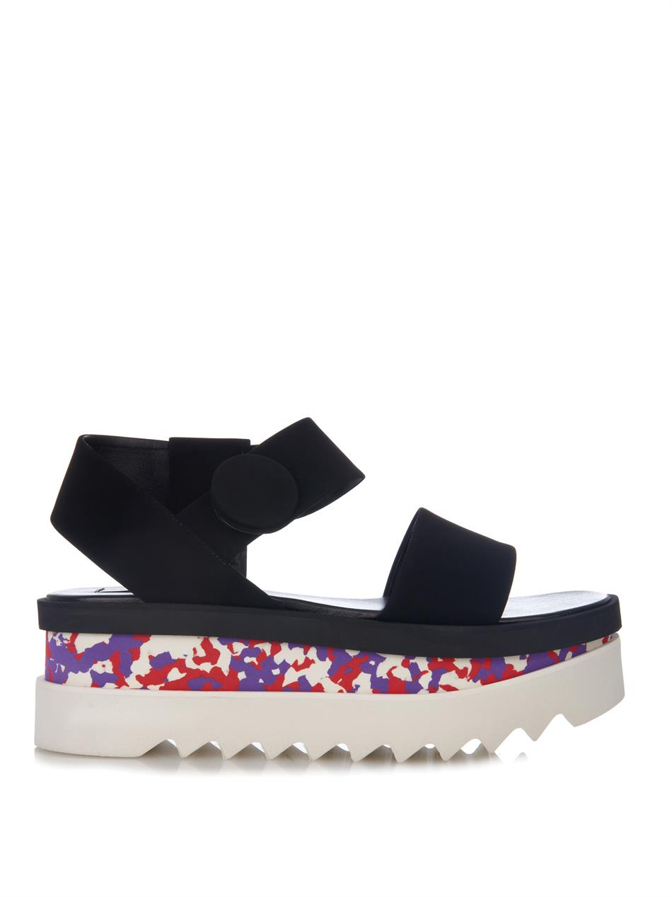 stella mccartney cornelia flatform sandals in black lyst