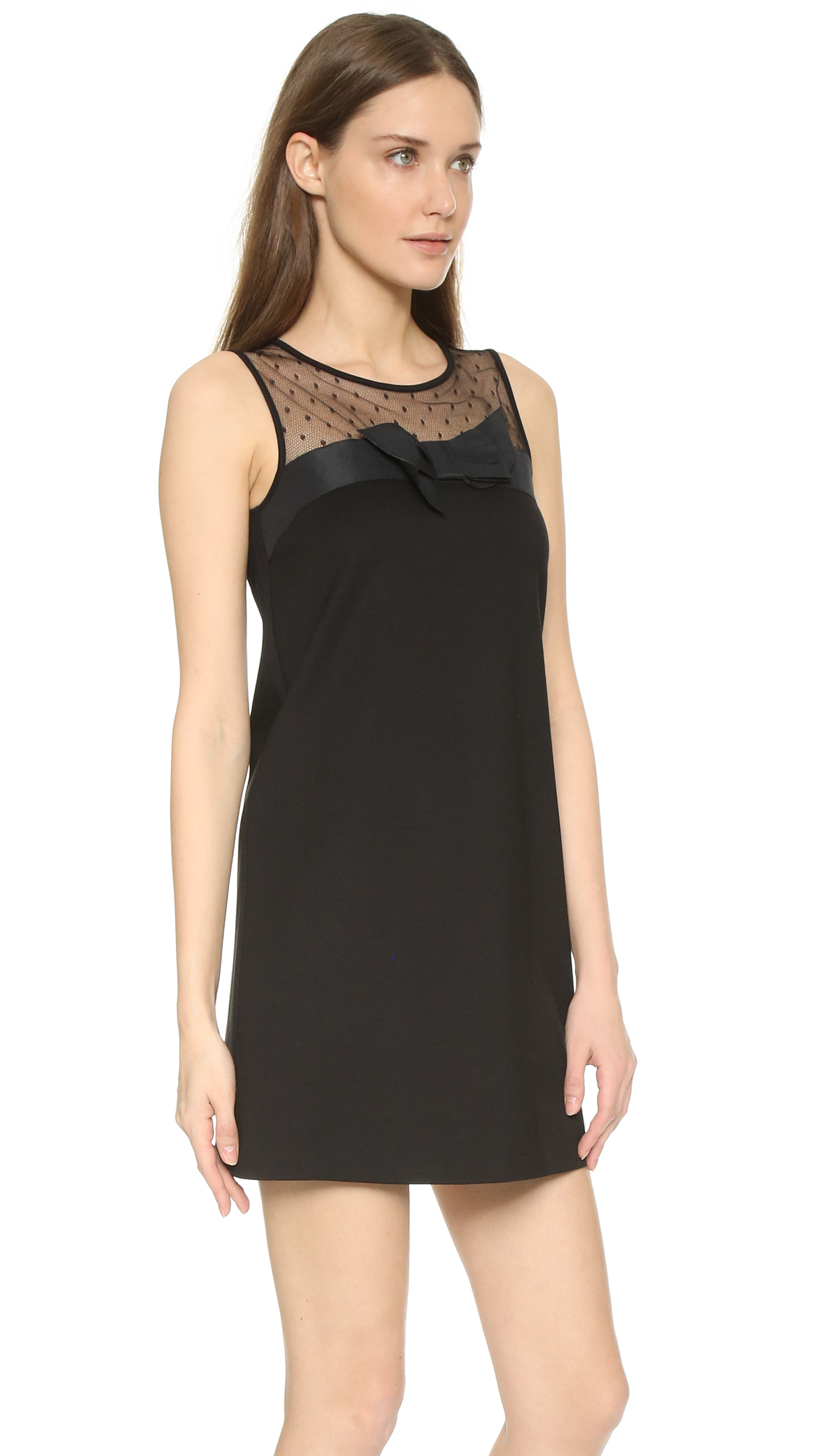 7d325d69020 Red Valentino Tank Dress With Bow Detail In Black Lyst