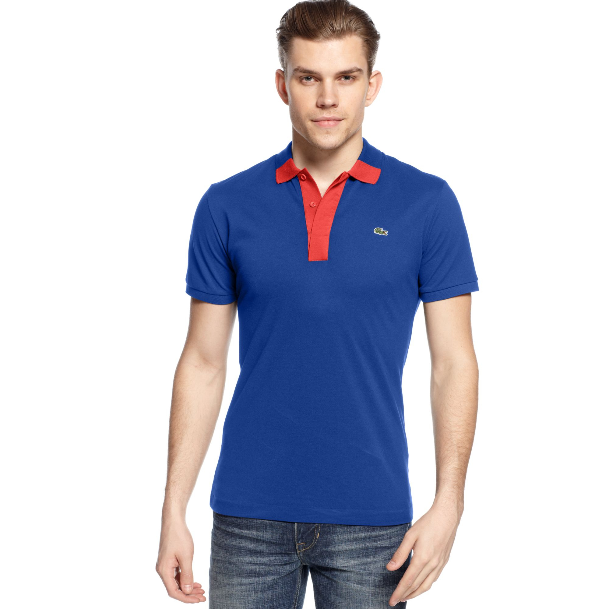 Lacoste Big And Tall Colorblocked Pique Polo In Blue For