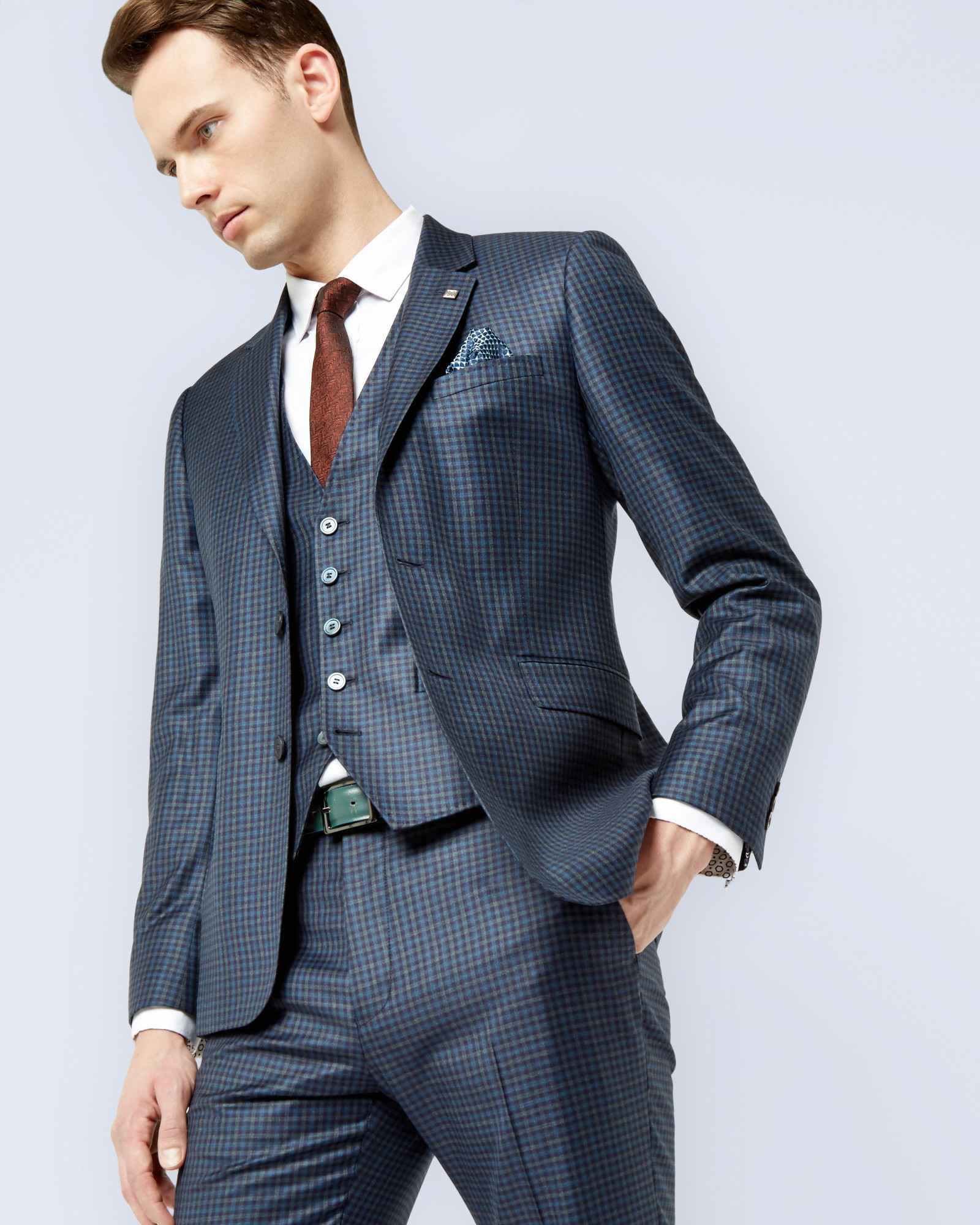 0f781d86788b Lyst - Ted Baker Debonair Micro Check Wool Jacket in Blue for Men