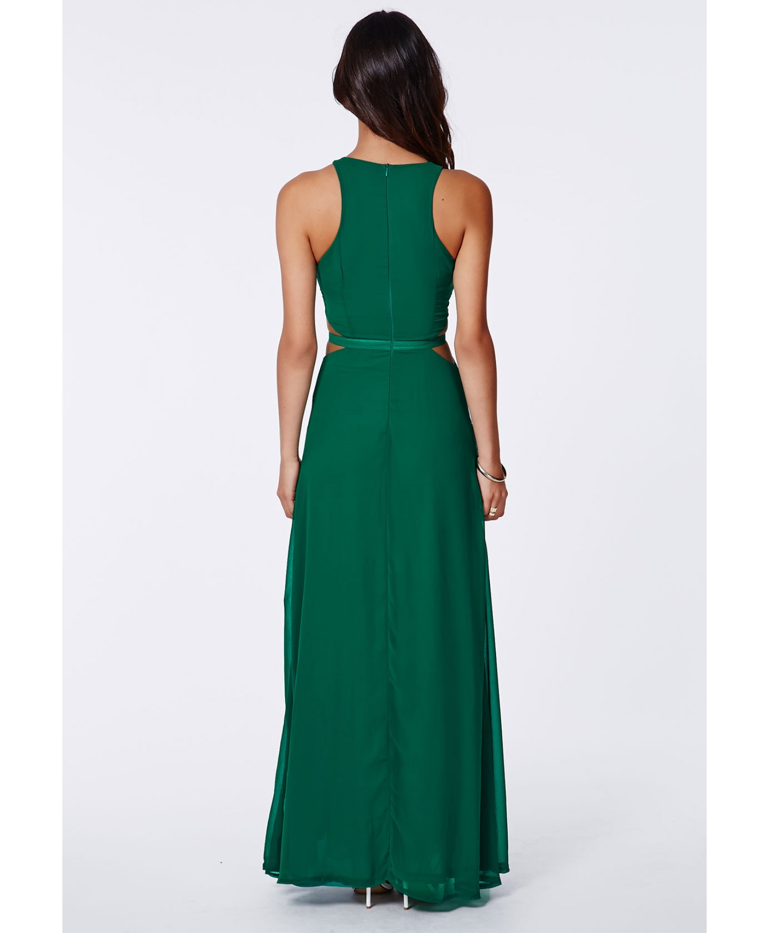 8a466e0b27c6 Missguided Anthea Cut Out Split Maxi Dress Emerald in Green - Lyst